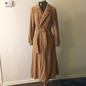 Camel colored trench coat.